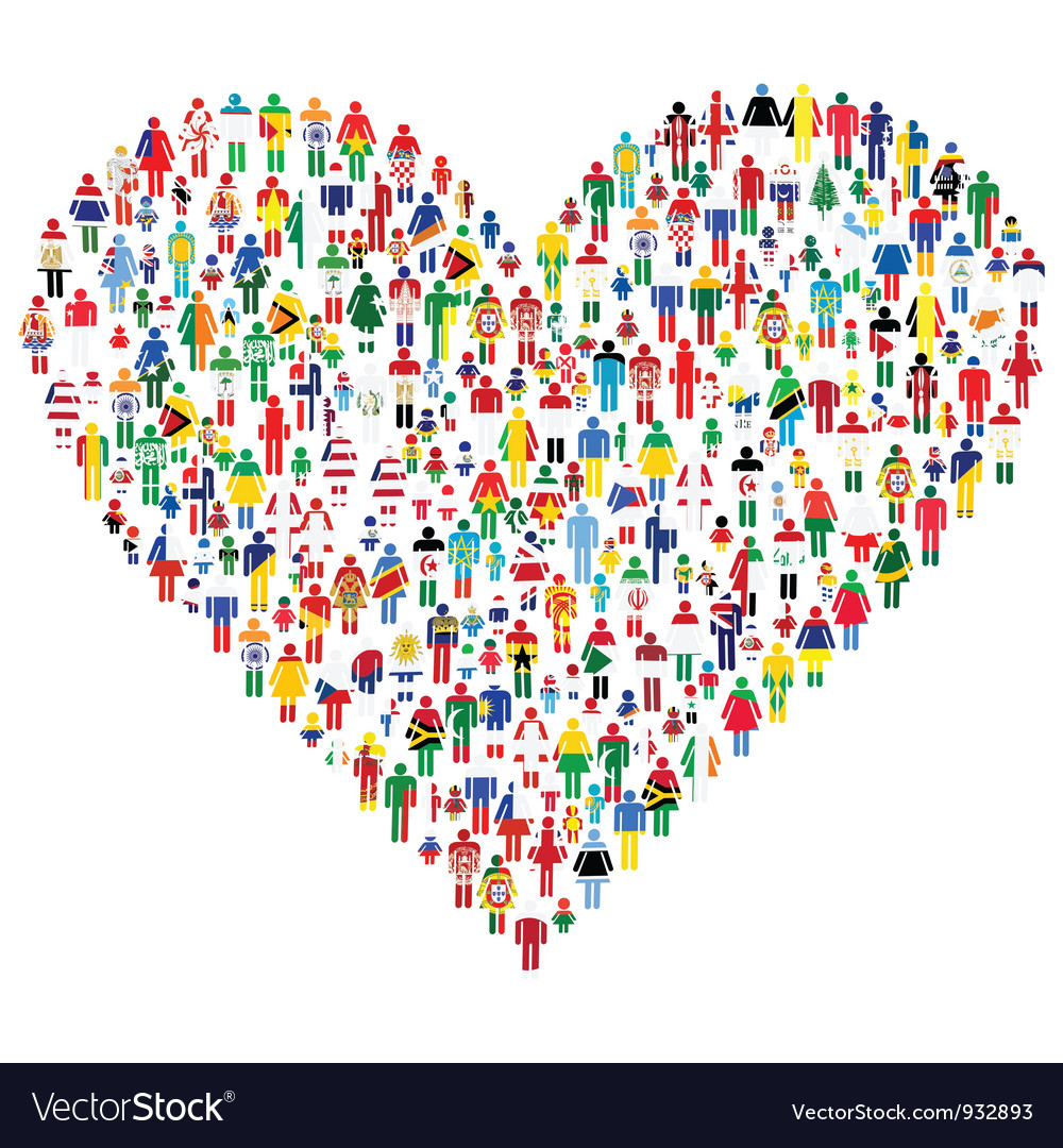 People made Heart Shape vector image