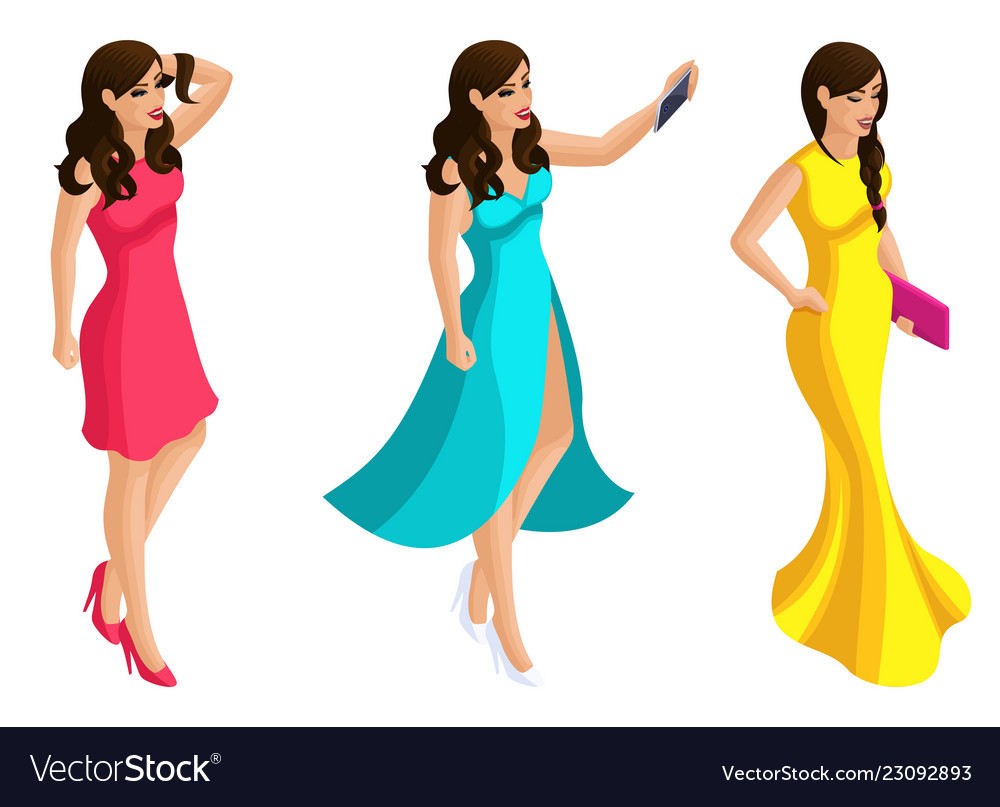 Quality isometry 3d beautiful girl in evening