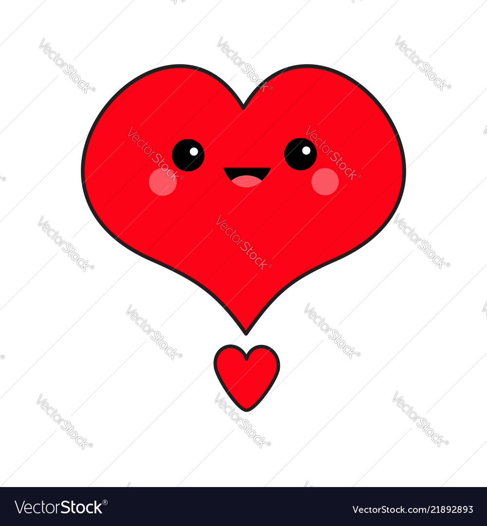 Red Heart Face Head Exclamation Point Cute Vector Image