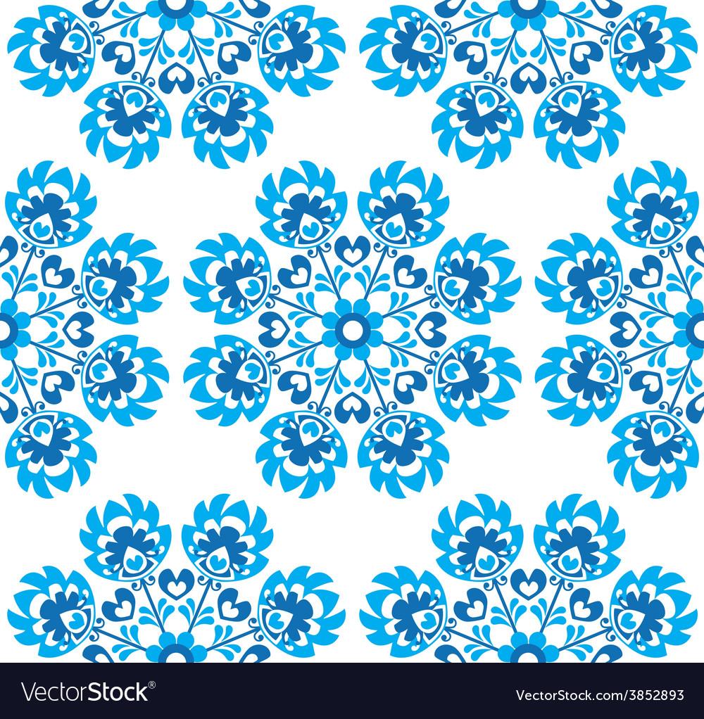 Seamless blue floral Polish folk art pattern vector image