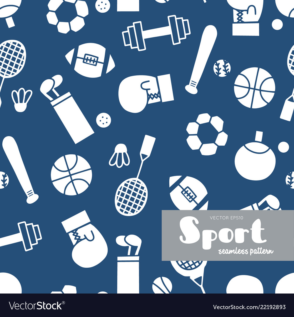 Set of sports icons doodle seamless pattern
