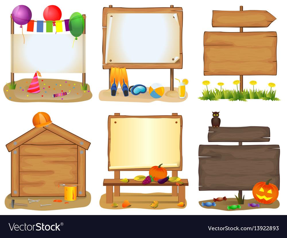 Wooden signboards set