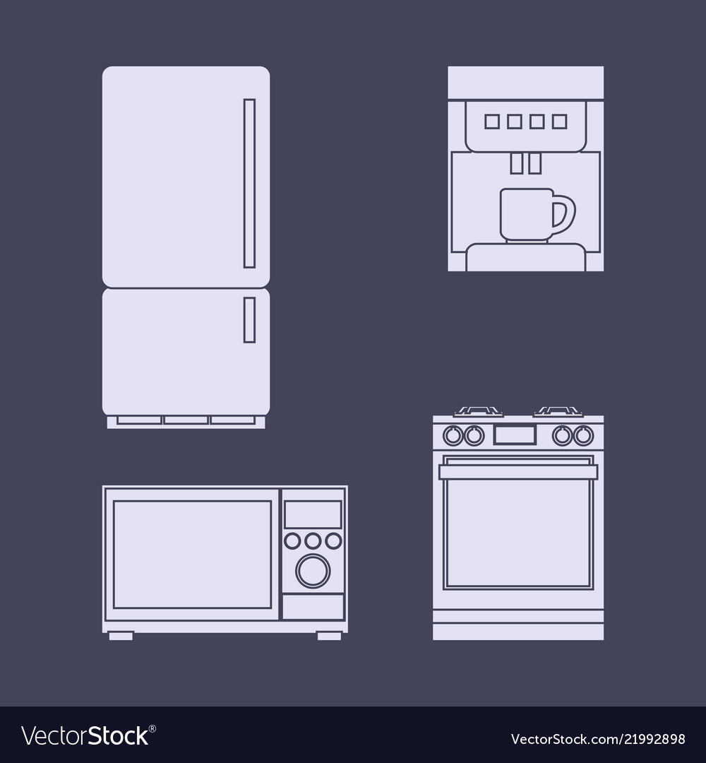 a set of icons of household kitchen appliances vector image rh vectorstock com Gazebo Vector Vector Dining Room
