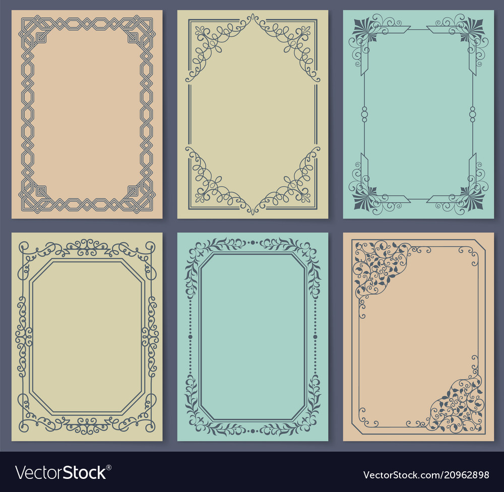 Decorative frames set of curved graphic ornament