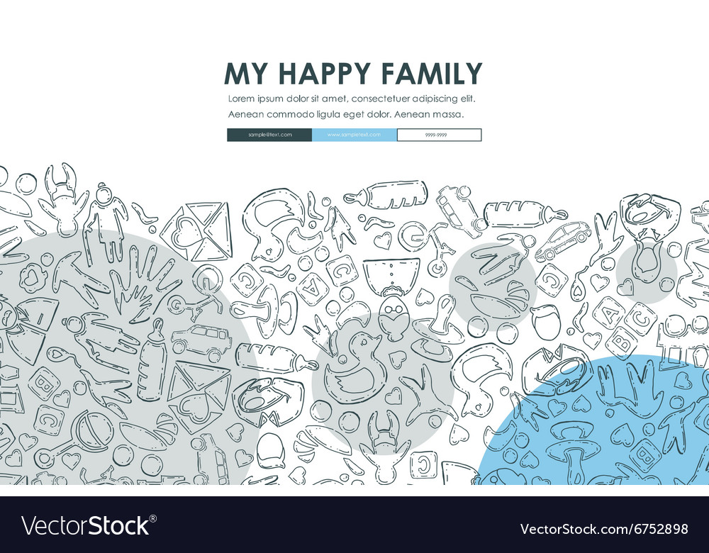 Family Doodle Website Template Design vector image