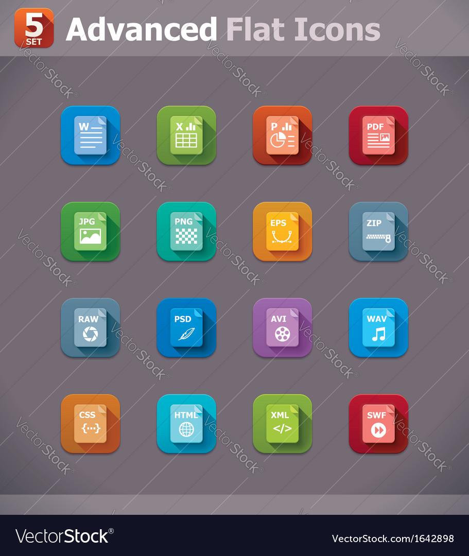Flat file type icons
