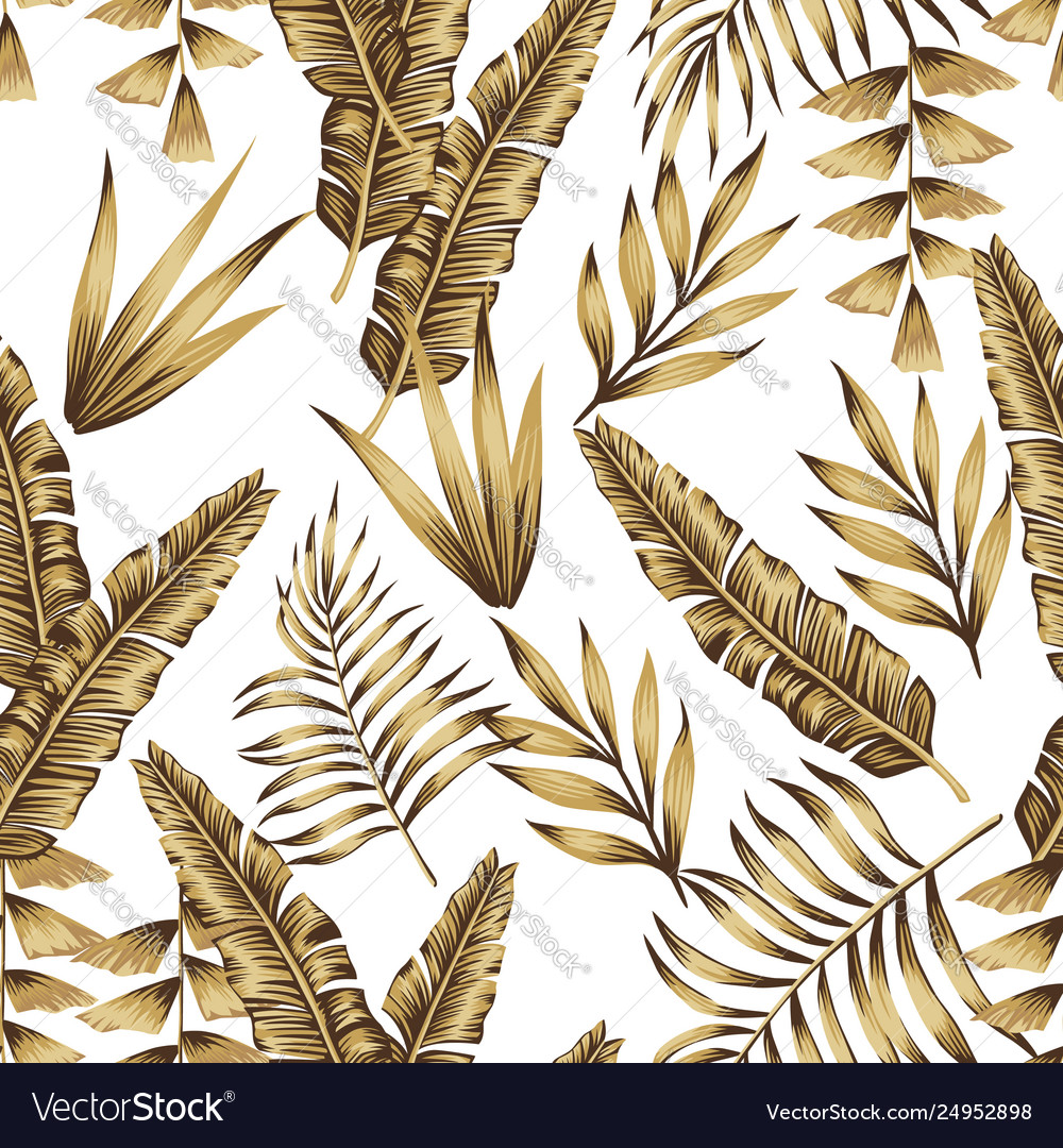 Gold Tropical Leaves Seamless White Background Vector Image Tropical leaves background with white banner. vectorstock
