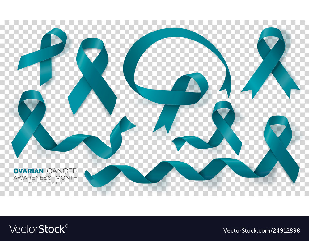 Ovarian Cancer Awareness Month Teal Color Ribbon Vector Image
