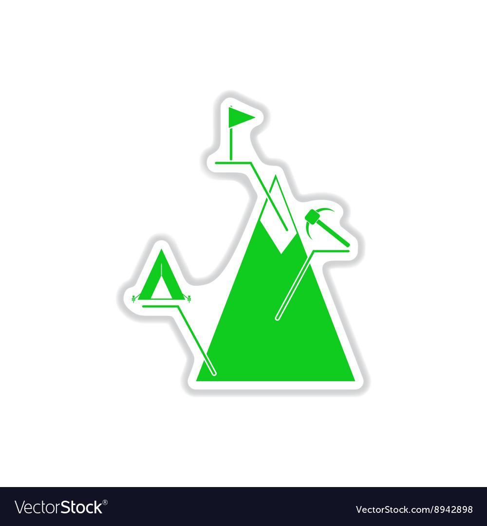 Paper sticker on white background mountain