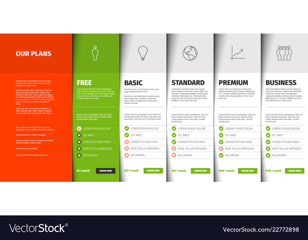 product service price comparison table royalty free vector