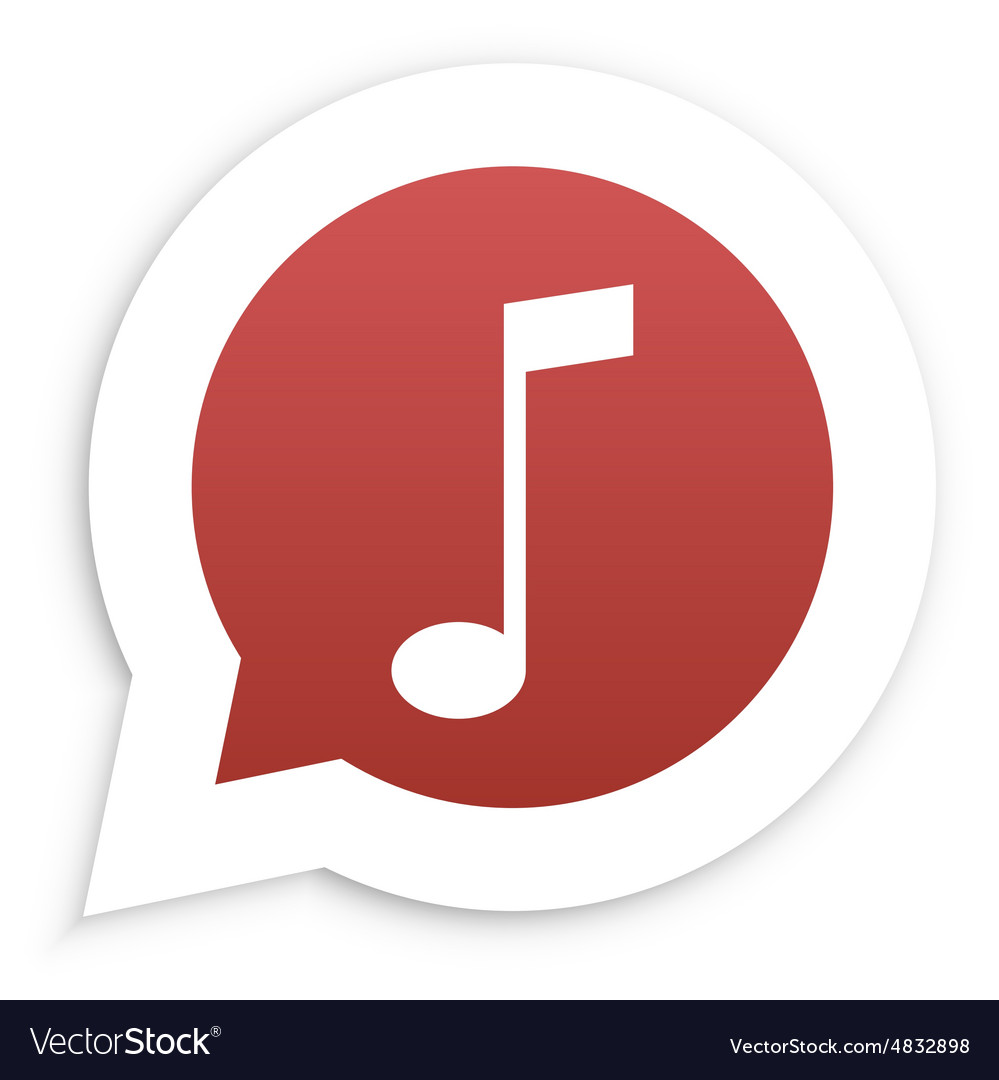 Red Music Note in speech bubble icon