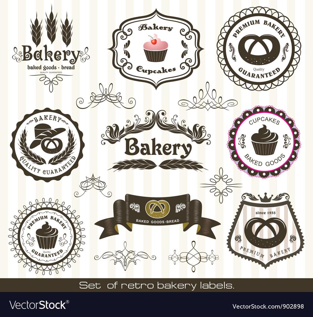 Set of vintage retro bakery labels vector image