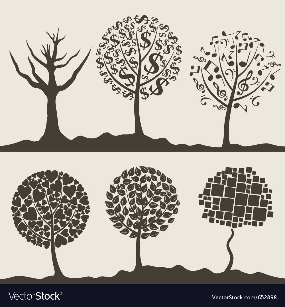 Silhouettes of trees vector
