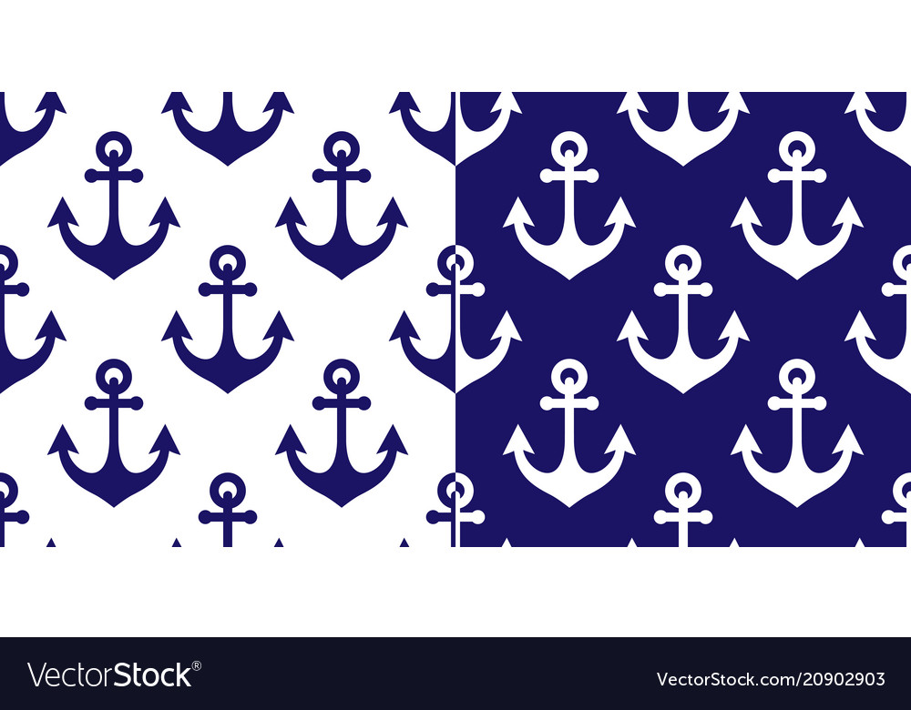 Anchor seamless pattern marine navy blue vector