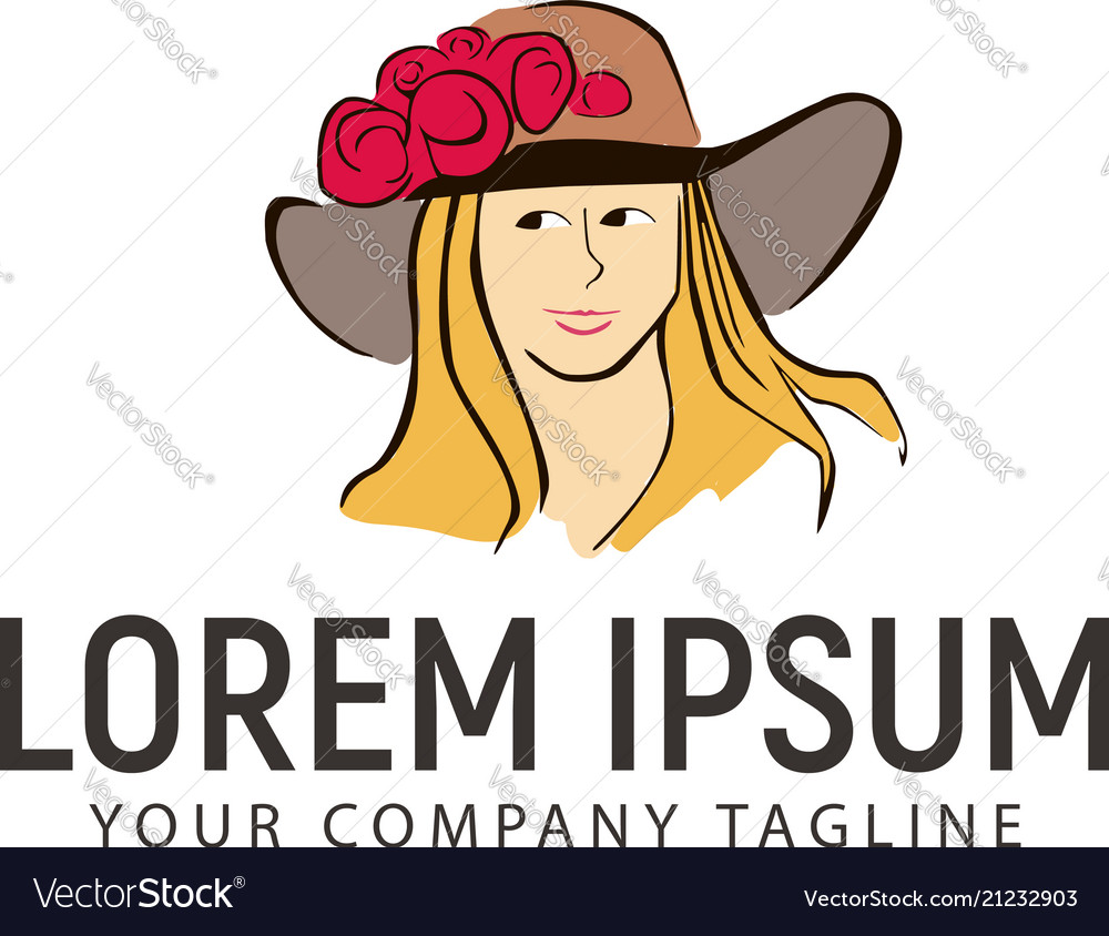 Beauty hand drawn women with cowboy hat logo
