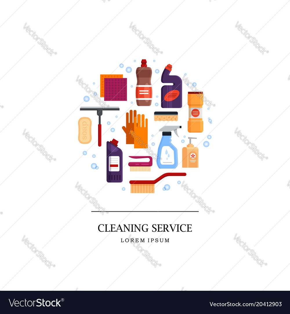 cleaning service logo set house cleaning tools in vector image