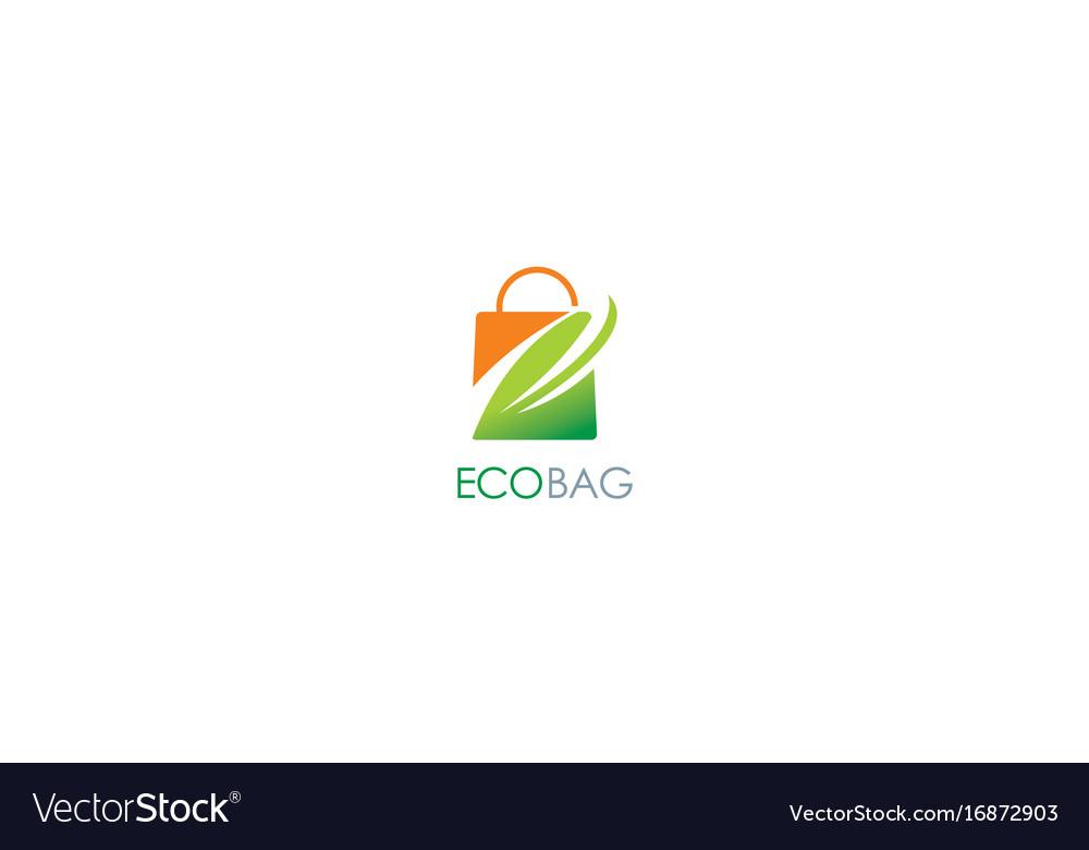 Eco shopping bag leaf logo