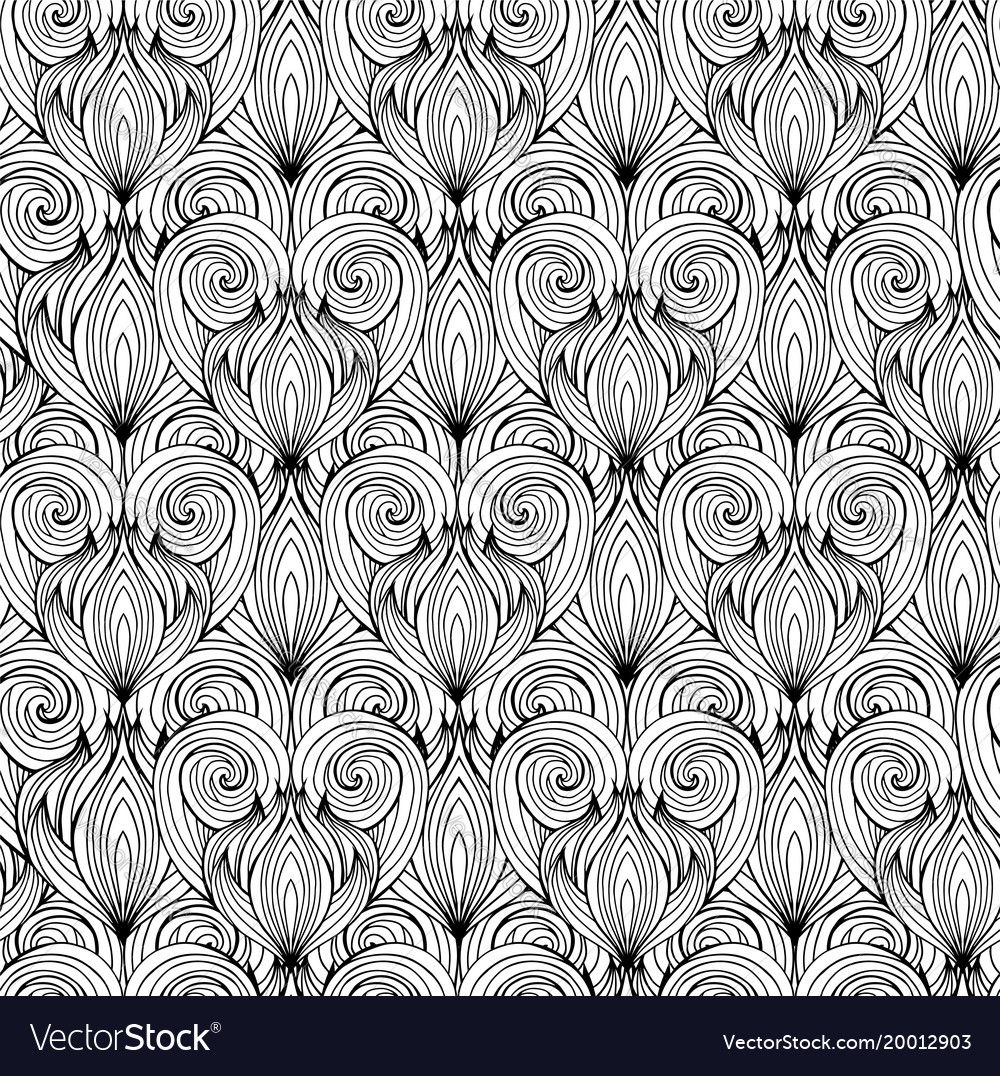 Seamless texture with black and white doodle
