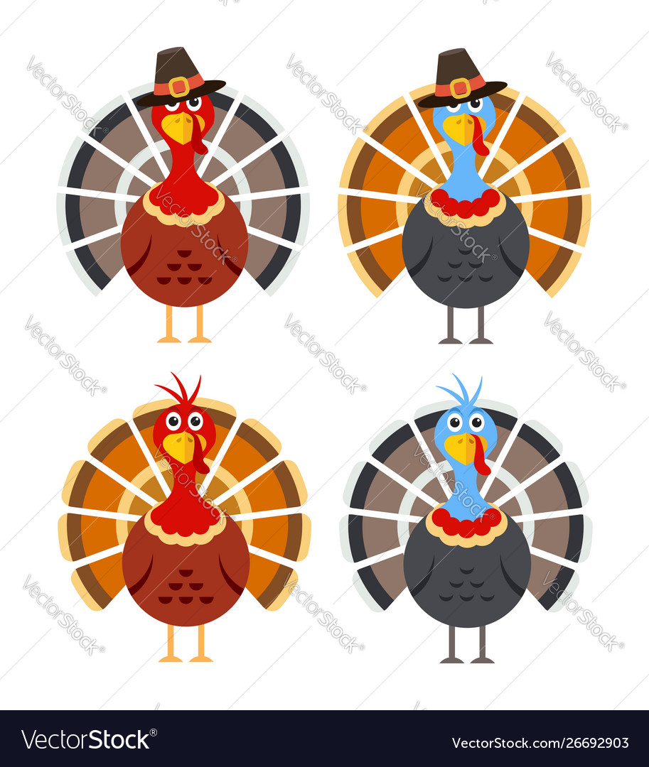 Set cartoon turkey birds for thanksgiving day