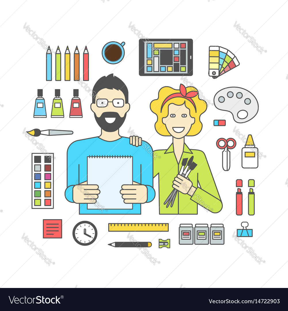 Set of icons for designers and accessories vector image