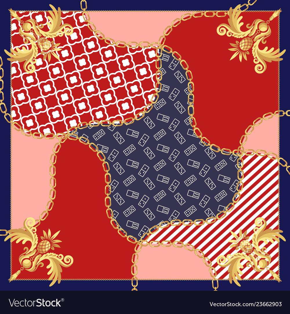 Silk scarf gold chains vintage baroque design