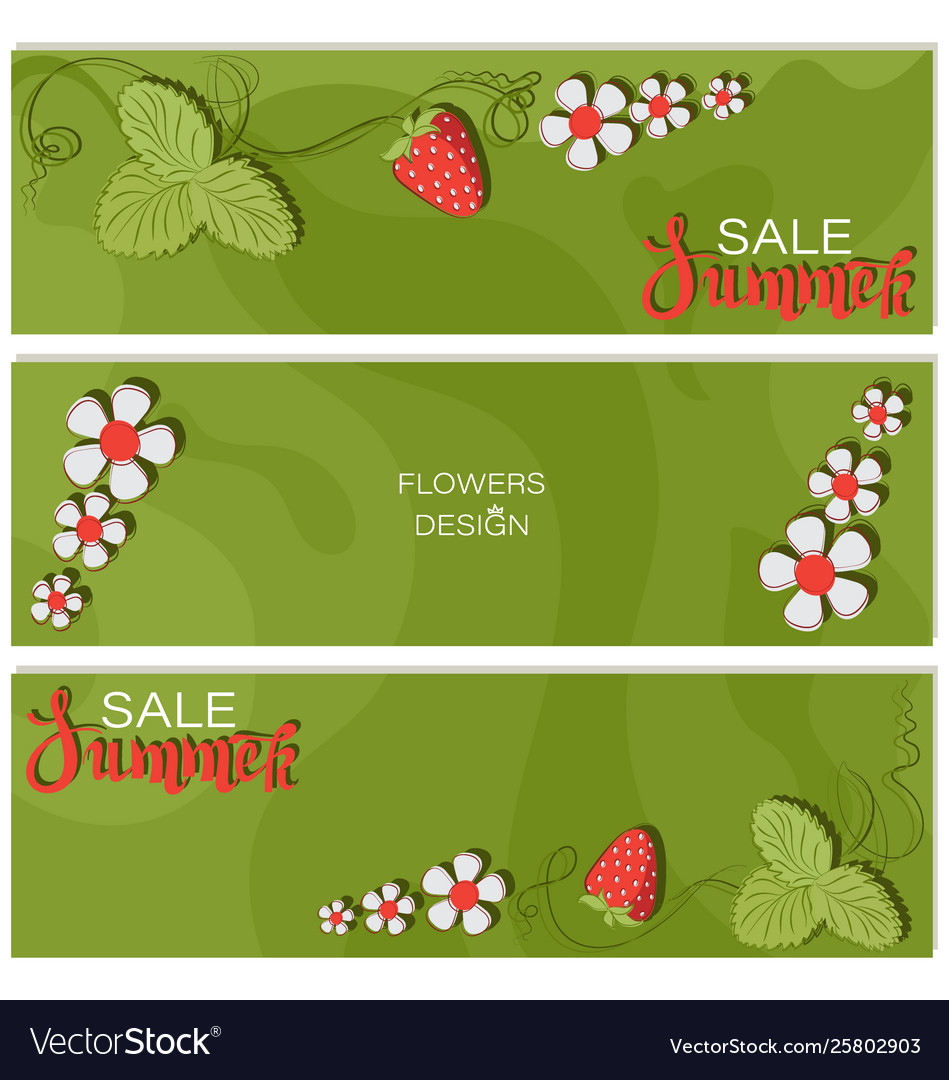 Summer sale strawberry triptych flower design vector image