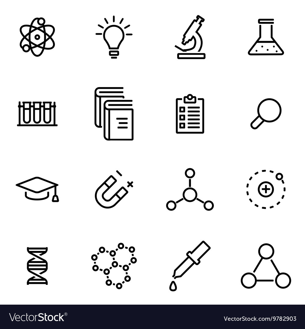 Thin line icons - science