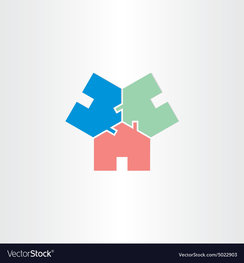 Three houses in circle home icon