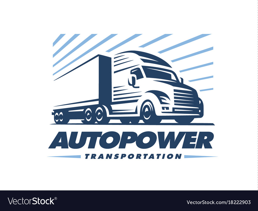 truck logo on white background royalty free vector image