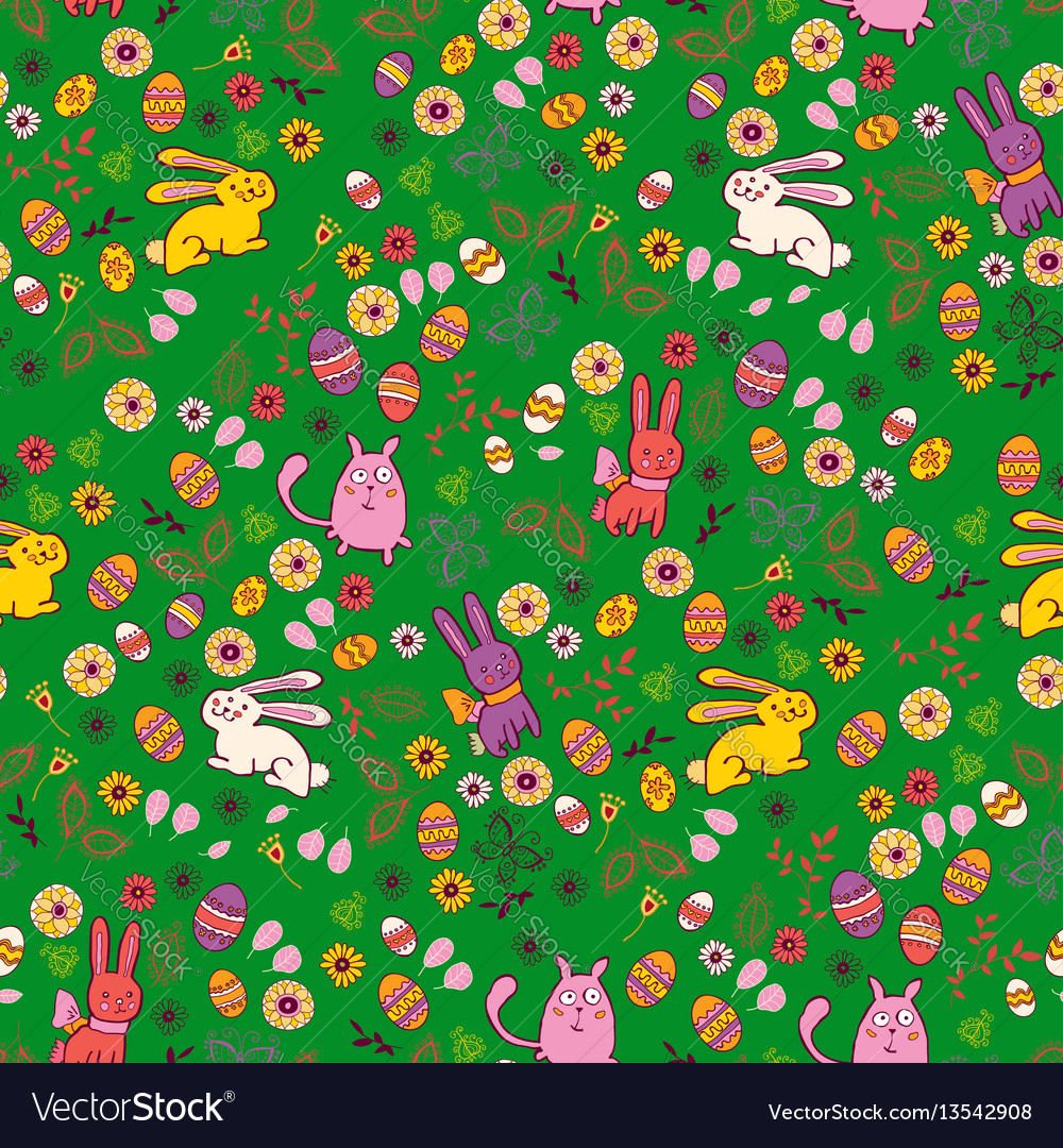 Background with easter bunnies and eggs