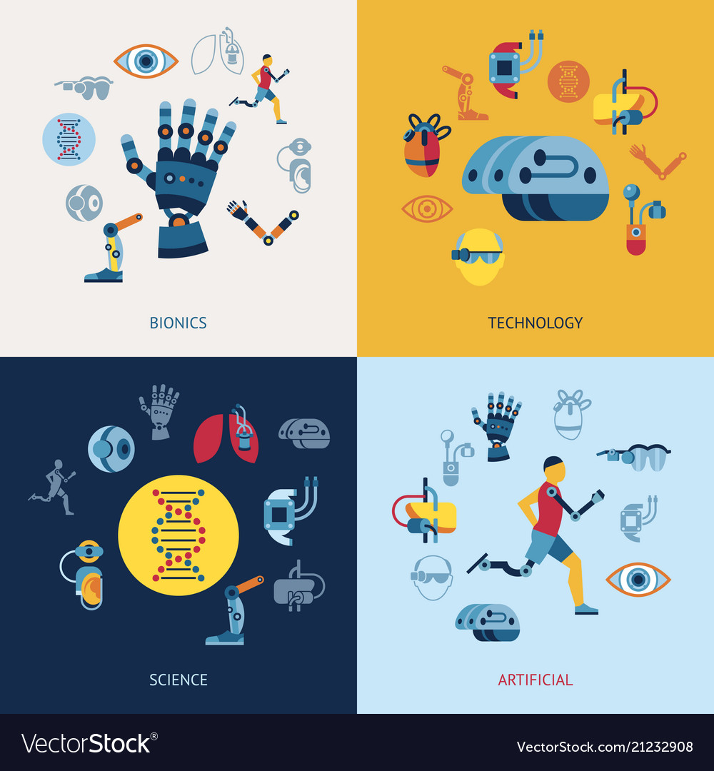 Bionics and artificial intelligence icon set