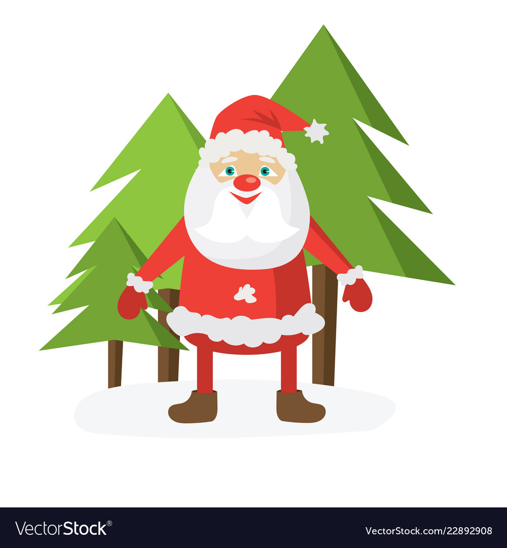 Cartoon santa in red hat holding christmas ball vector