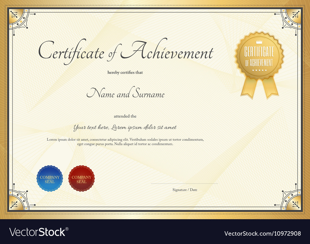 Certificate Template For Achievement Royalty Free Vector