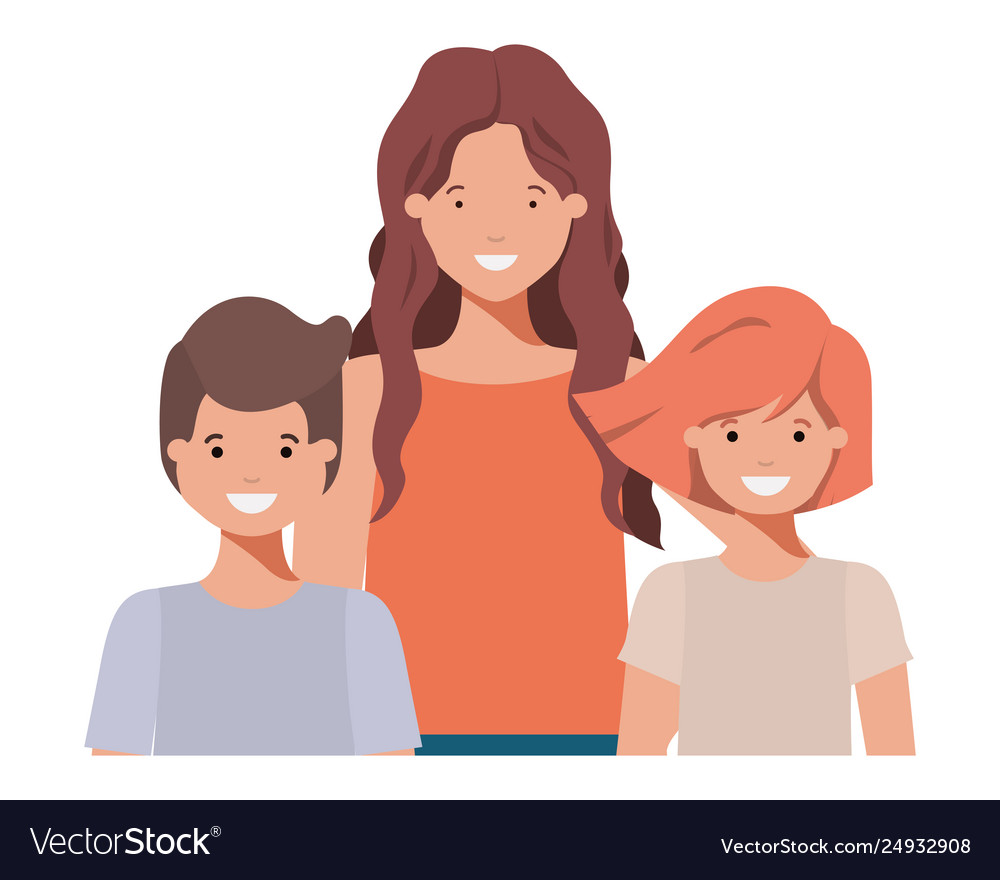 Family smiling and waving avatar character