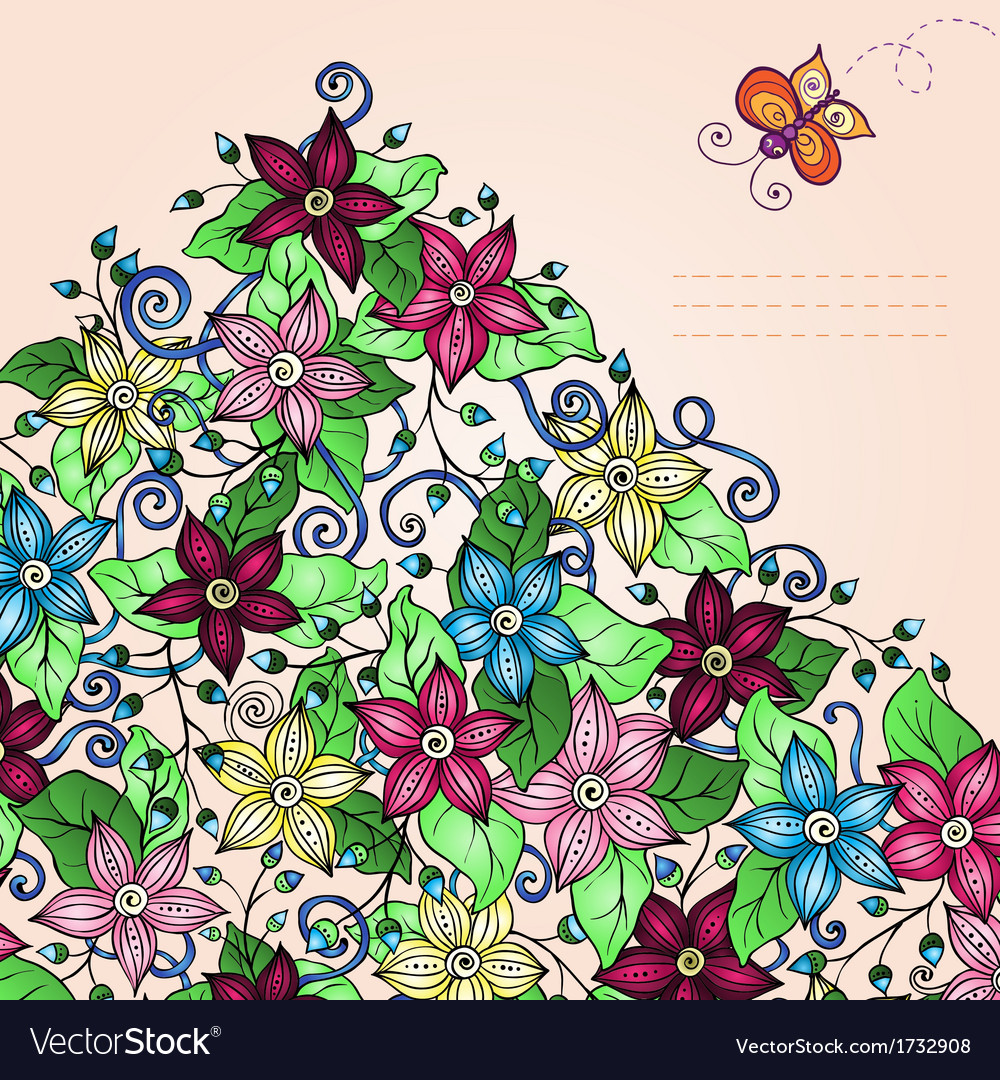 Floral background retro flowers leaves and vector image