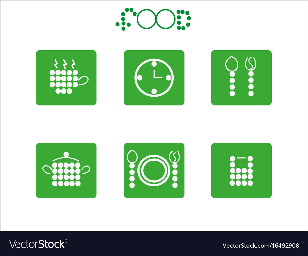 Food icon set from circles