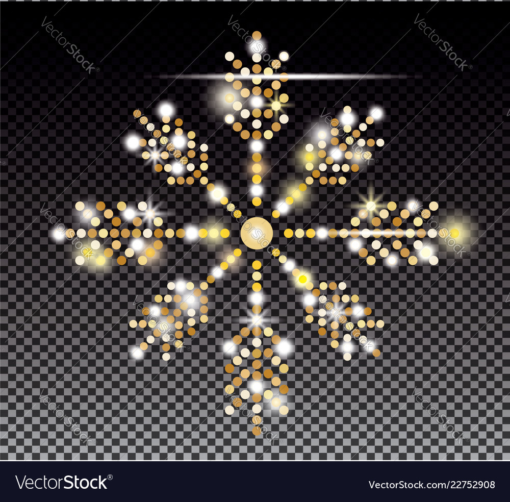 Glitter gold snowflake on transparent background