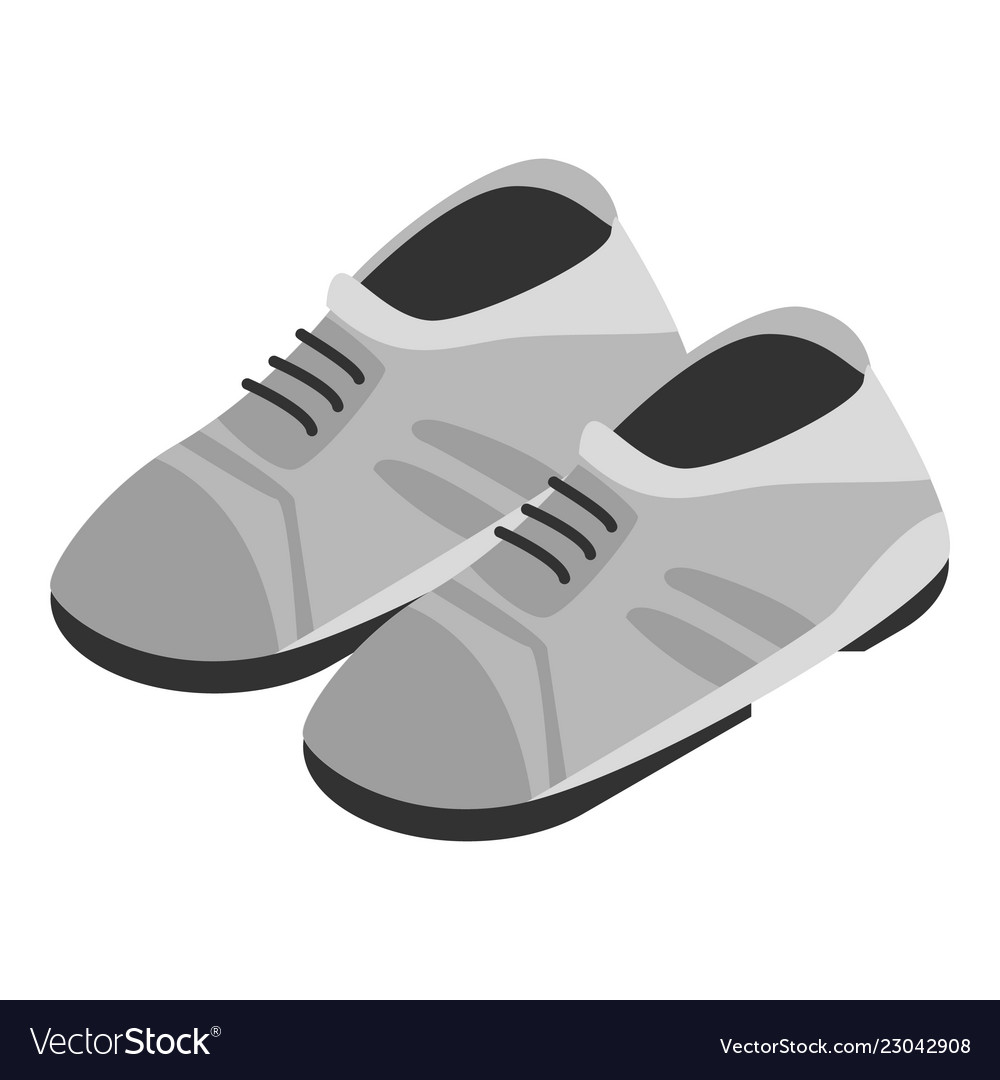 Grey shoes icon isometric style