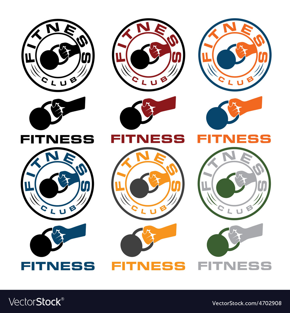 Grunge kettlebell in the hand fitness emblems