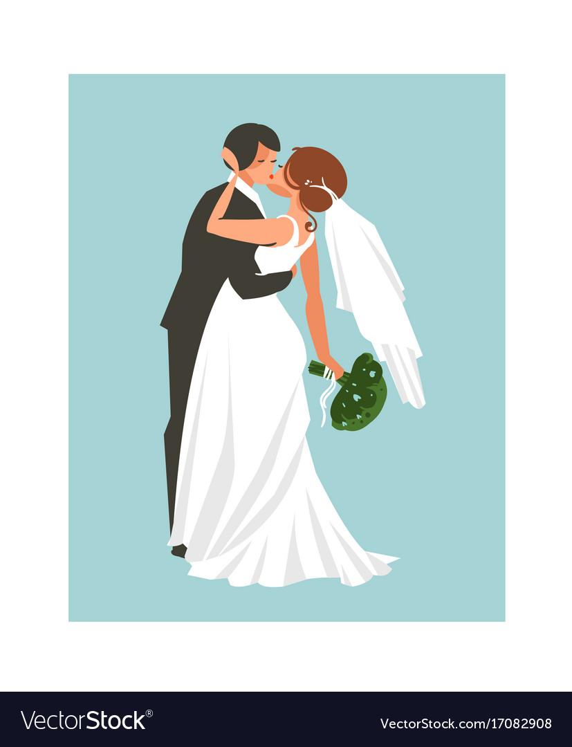 Hand drawn abstract wedding hugging and
