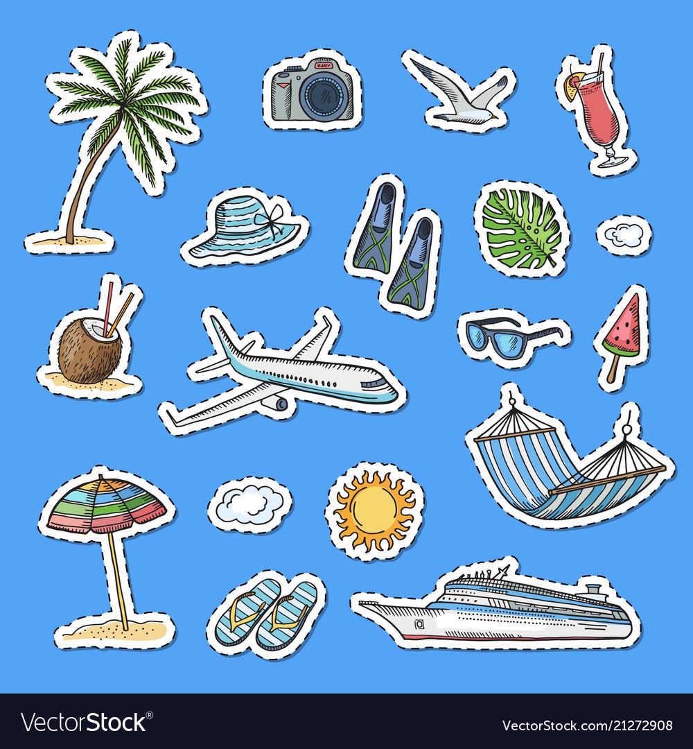 Hand drawn summer travel elements stickers