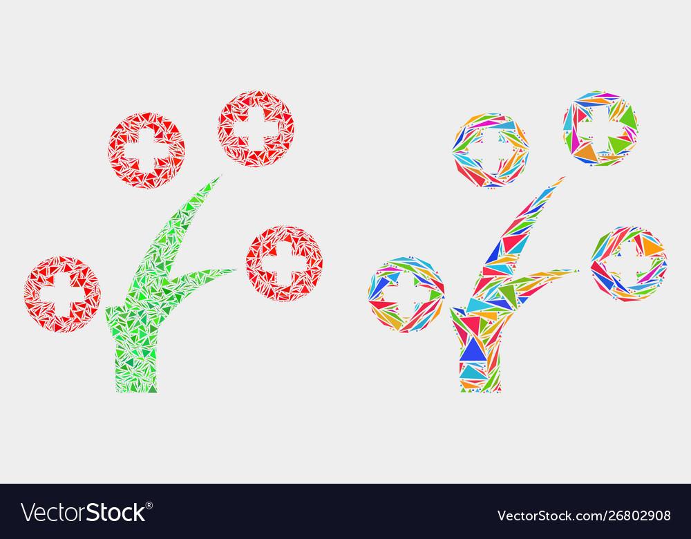 Medical tree mosaic icon triangle