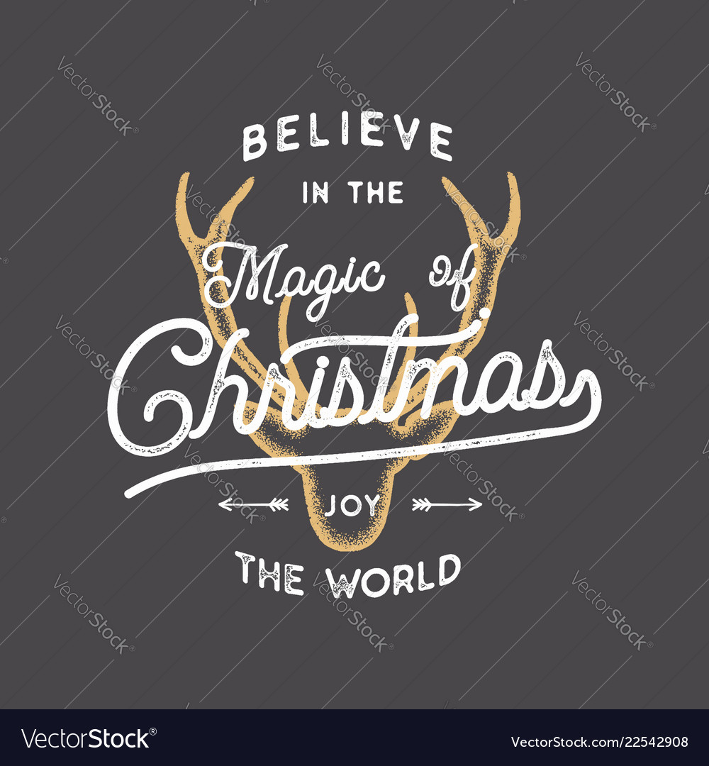 Merry christmas lettering believe in the magic of