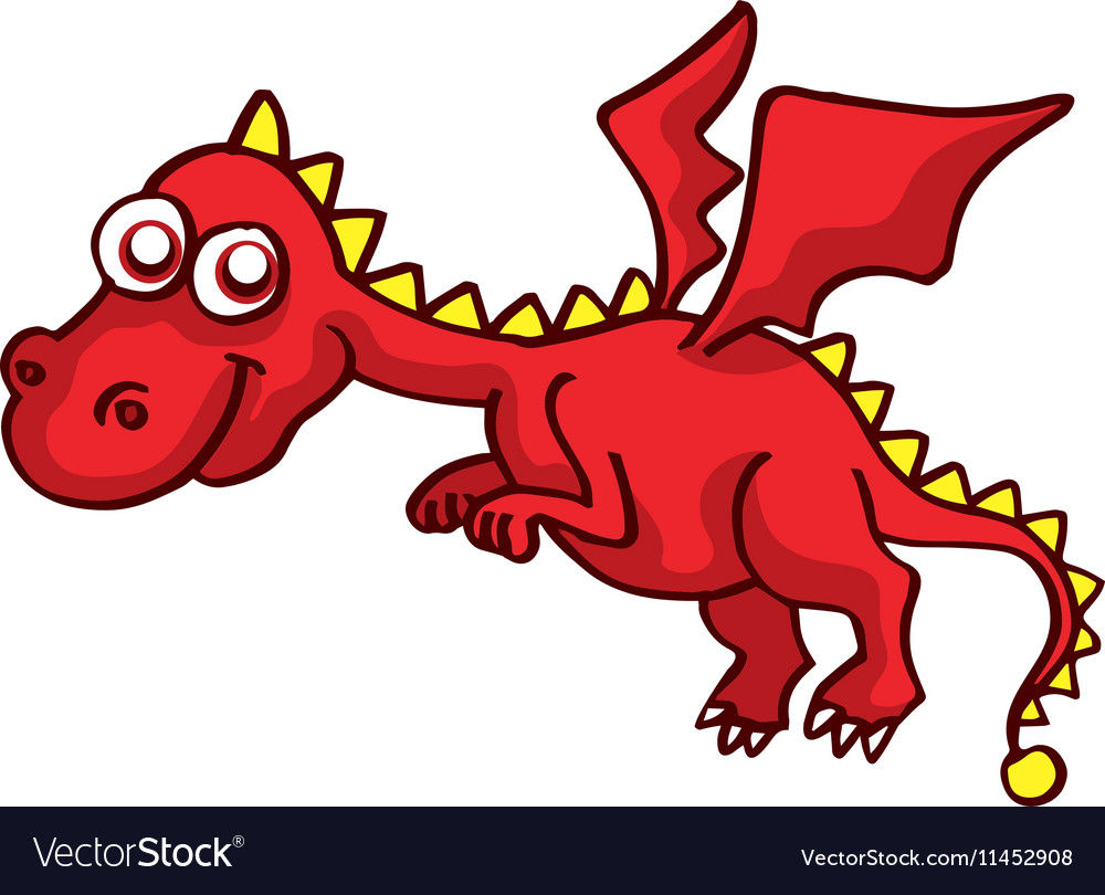 Red Dragon Funny Cartoon Design For Kids Vector Image