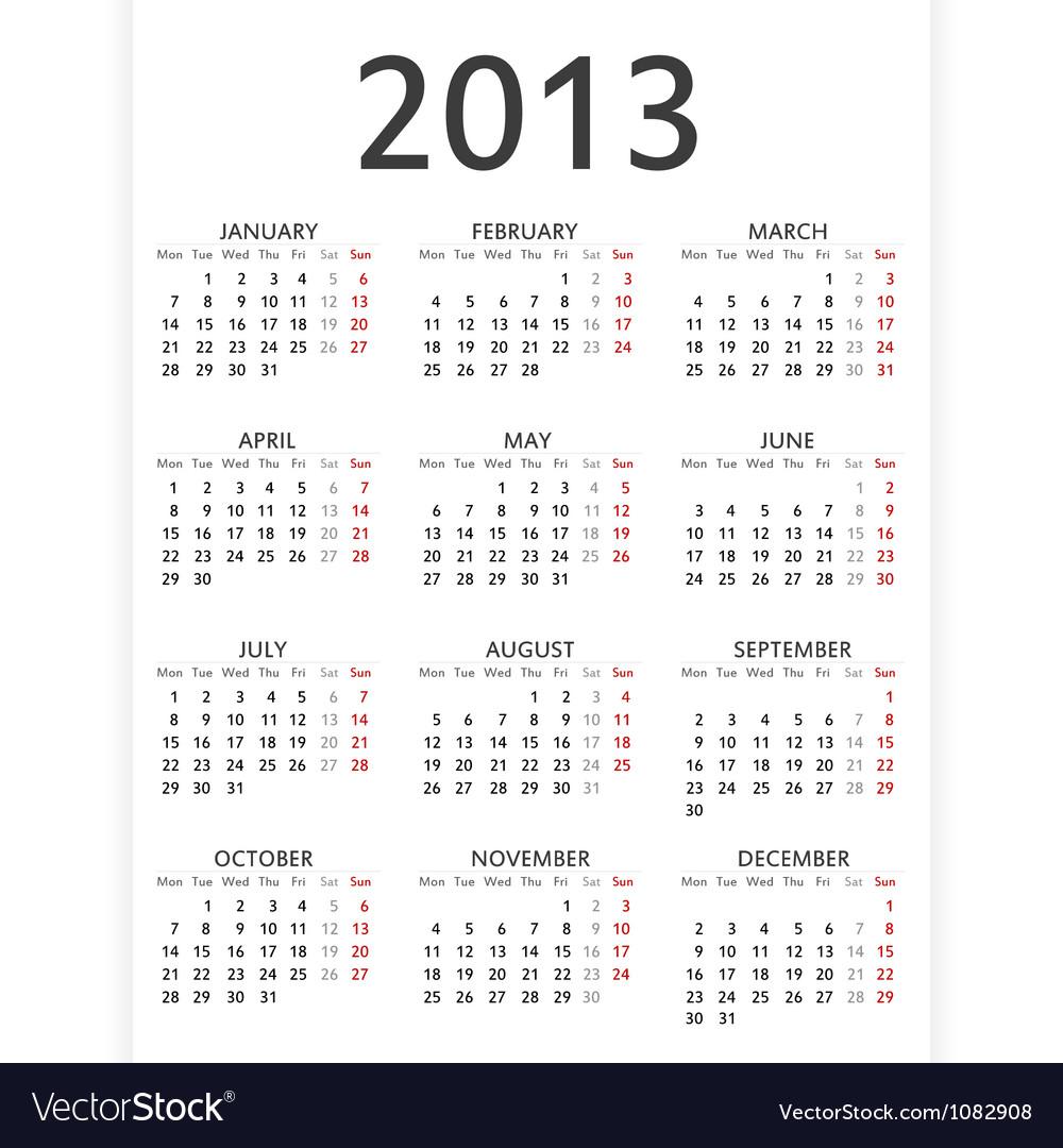 Simple 2013 calendar
