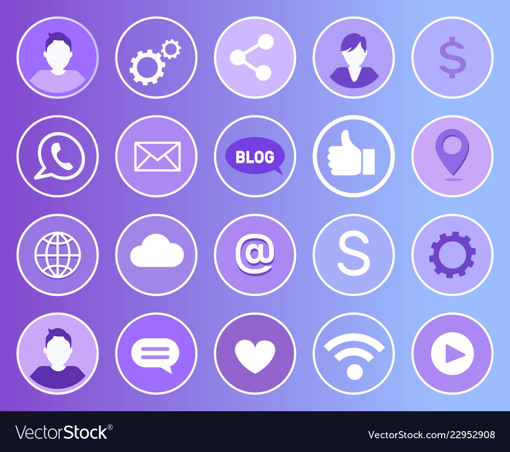 Social network signs icons