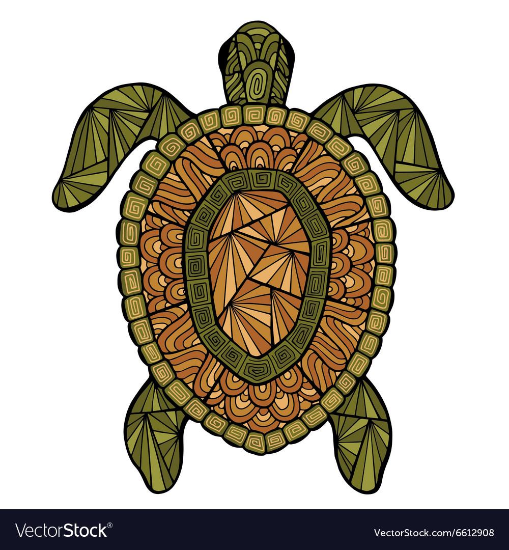 Stylized turtle style zentangle