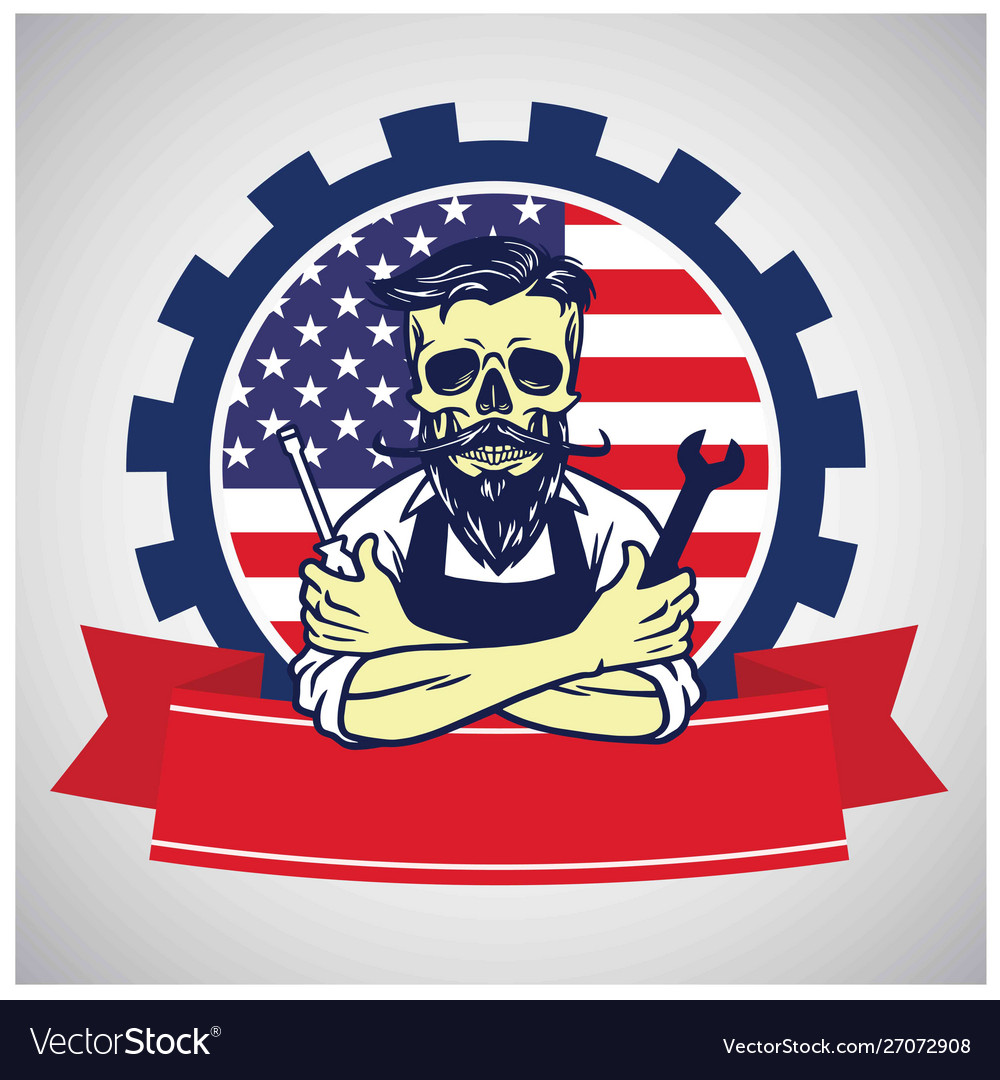 Usa labor day skull worker logo united states flag vector