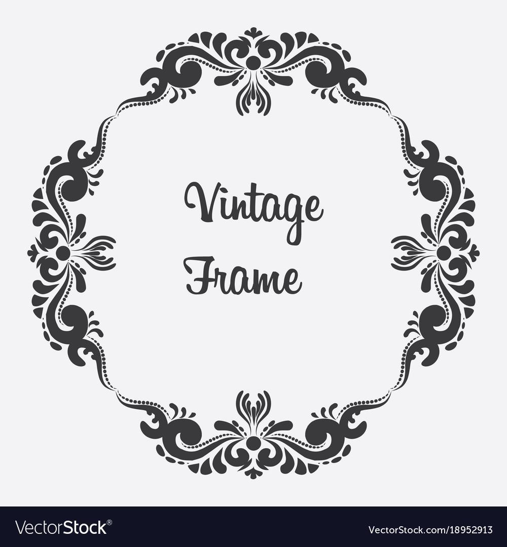 Black square vintage frame floral ornament Vector Image