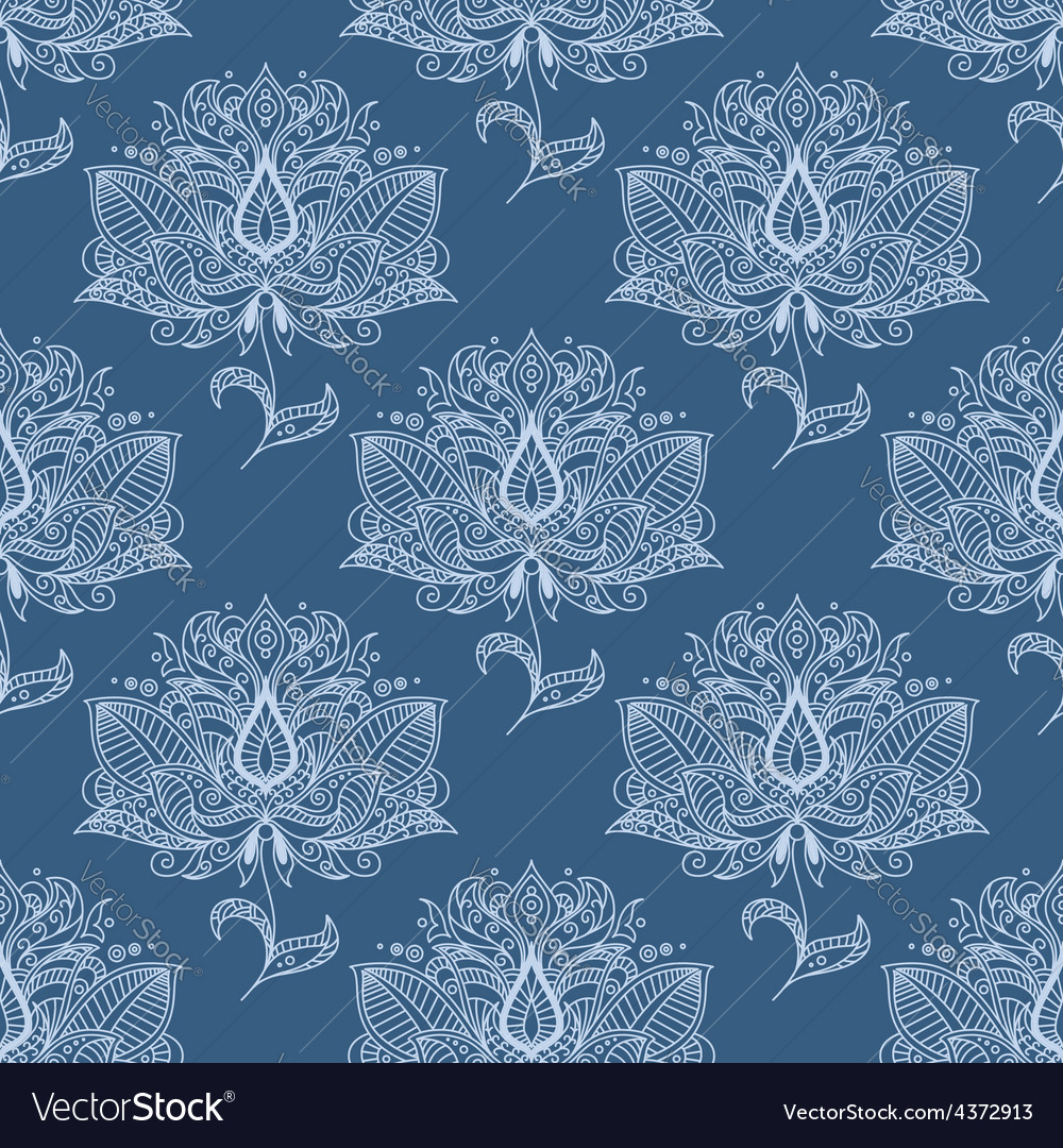Blue paisley flowers seamless pattern